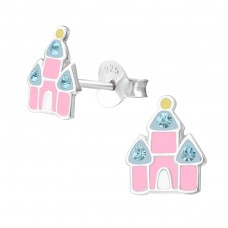 Castle - 925 Sterling Silver Crystal Ear Studs A4S37107