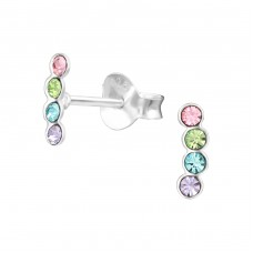 Geometric - 925 Sterling Silver Crystal Ear Studs A4S37172