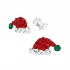 Santa Hat - 925 Sterling Silver Crystal Ear Studs A4S37203
