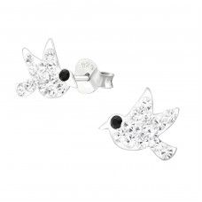 Bird - 925 Sterling Silver Crystal Ear Studs A4S37204