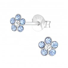 Flower - 925 Sterling Silver Crystal Ear Studs A4S37209