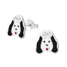 Dog - 925 Sterling Silver Crystal Ear Studs A4S37210