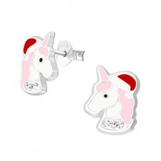 Unicorn - 925 Sterling Silver Crystal Ear Studs A4S37249