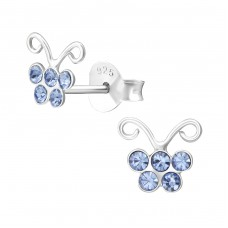 Butterfly - 925 Sterling Silver Crystal Ear Studs A4S37350