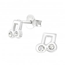 Music Note - 925 Sterling Silver Crystal Ear Studs A4S37352
