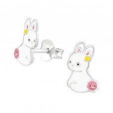 Rabbit - 925 Sterling Silver Crystal Ear Studs A4S37498