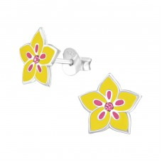 Flower - 925 Sterling Silver Crystal Ear Studs A4S37517