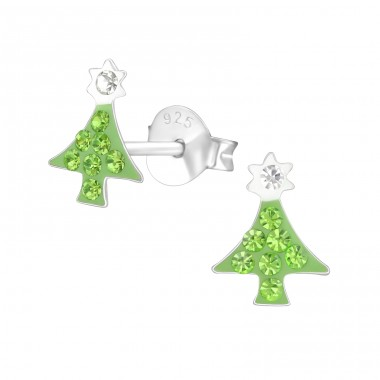 Christmas Tree - 925 Sterling Silver Crystal Ear Studs A4S37648