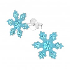 Snowflake - 925 Sterling Silver Crystal Ear Studs A4S37652