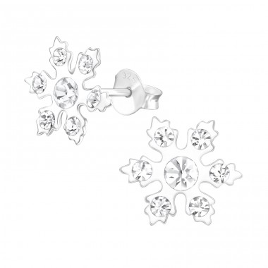 Snowflake - 925 Sterling Silver Ear studs with crystals A4S37652