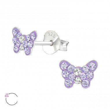 Butterfly - 925 Sterling Silver Ear studs with crystals A4S37654