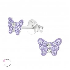 Butterfly - 925 Sterling Silver Crystal Ear Studs A4S37654
