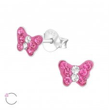 Butterfly - 925 Sterling Silver Crystal Ear Studs A4S37655