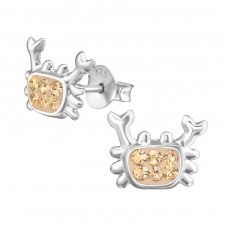Crab - 925 Sterling Silver Crystal Ear Studs A4S37740