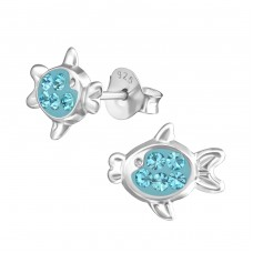 Fish - 925 Sterling Silver Crystal Ear Studs A4S37741