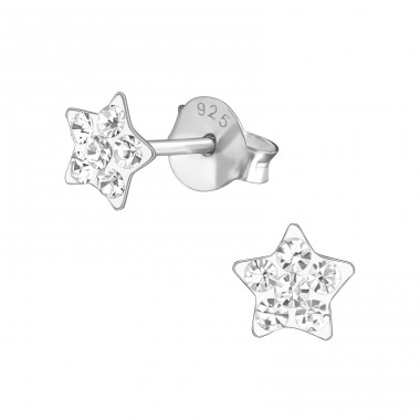 Star - 925 Sterling Silver Crystal Ear Studs A4S37742
