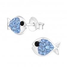 Fish - 925 Sterling Silver Crystal Ear Studs A4S37743