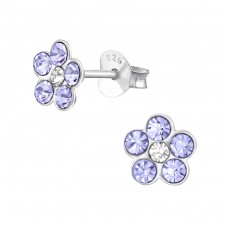 Flower - 925 Sterling Silver Crystal Ear Studs A4S37744
