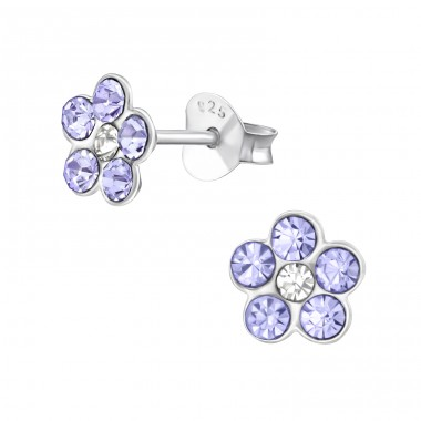 Flower - 925 Sterling Silver Ear studs with crystals A4S37744
