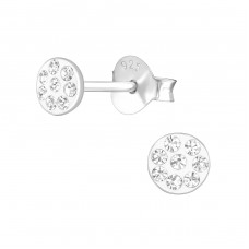 Round - 925 Sterling Silver Crystal Ear Studs A4S37759