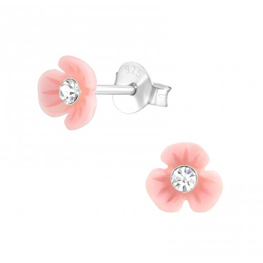 Flower - 925 Sterling Silver Ear studs with crystals A4S37892