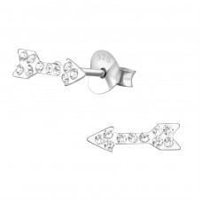 Arrow - 925 Sterling Silver Crystal Ear Studs A4S37921
