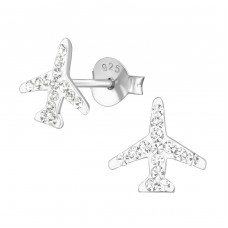 Plane - 925 Sterling Silver Crystal Ear Studs A4S37922