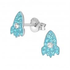 Rocket Ship - 925 Sterling Silver Crystal Ear Studs A4S38010