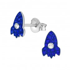Rocket Ship - 925 Sterling Silver Crystal Ear Studs A4S38012