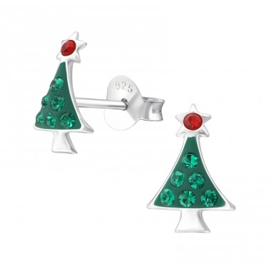 Christmas Tree - 925 Sterling Silver Crystal Ear Studs A4S38014