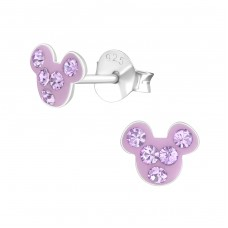 Mouse - 925 Sterling Silver Crystal Ear Studs A4S38174