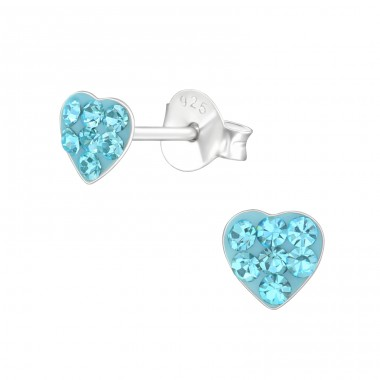 Heart - 925 Sterling Silver Crystal Ear Studs A4S38238