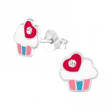 Cupcake - 925 Sterling Silver Crystal Ear Studs A4S38260