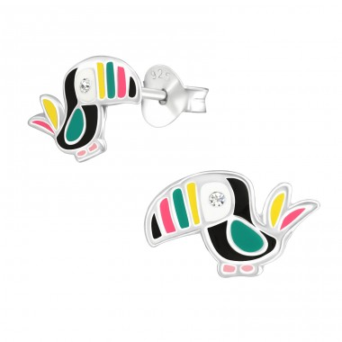 Bird - 925 Sterling Silver Ear studs with crystals A4S38264