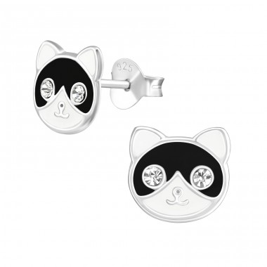 Cat - 925 Sterling Silver Ear studs with crystals A4S38286