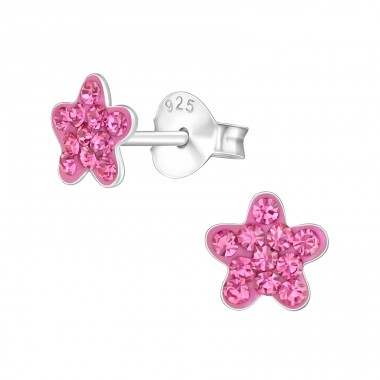 Flower - 925 Sterling Silver Crystal Ear Studs A4S38295