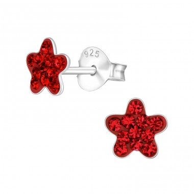 Flower - 925 Sterling Silver Ear studs with crystals A4S38295