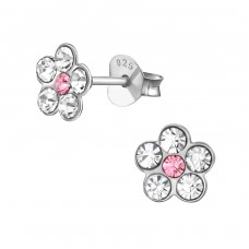 Flower - 925 Sterling Silver Crystal Ear Studs A4S38296