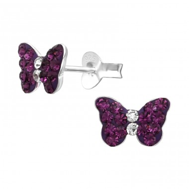 Butterfly - 925 Sterling Silver Ear studs with crystals A4S38297