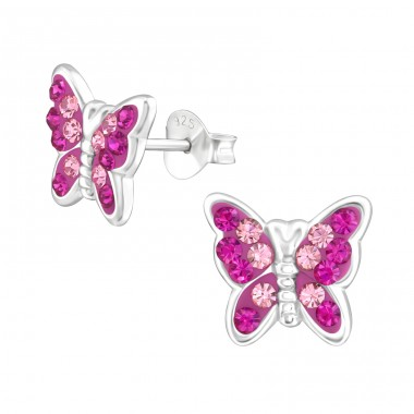 Butterfly - 925 Sterling Silver Crystal Ear Studs A4S38318