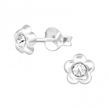 Flower - 925 Sterling Silver Crystal Ear Studs A4S38351