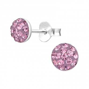 Round - 925 Sterling Silver Crystal Ear Studs A4S38352