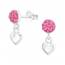 Round With Hanging Heart - 925 Sterling Silver Crystal Ear Studs A4S38391