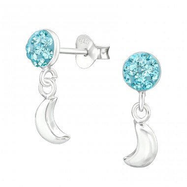 Round With Hanging Moon - 925 Sterling Silver Crystal Ear Studs A4S38392