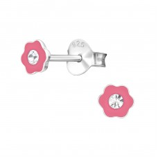 Flower - 925 Sterling Silver Crystal Ear Studs A4S3845
