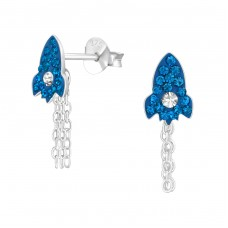 Rocket - 925 Sterling Silver Crystal Ear Studs A4S38461