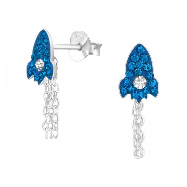 Rocket - 925 Sterling Silver Ear studs with crystals A4S38461