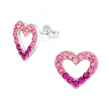 Heart - 925 Sterling Silver Crystal Ear Studs A4S38472