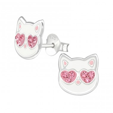 Cat - 925 Sterling Silver Ear studs with crystals A4S38504