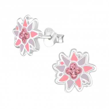 Flower - 925 Sterling Silver Crystal Ear Studs A4S38505